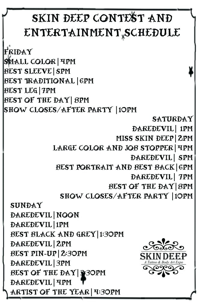 Tattoo Schedule